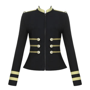 Elegant Long Sleeve Bandage Jacket