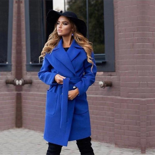 Solid Color Belted Coat