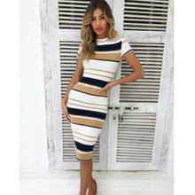 Load image into Gallery viewer, Women Summer Stripe Bodycon Dress Vestidos Short Sleeve Ladies Knee Length Dress Plain Jersey Stretch Basic Dress