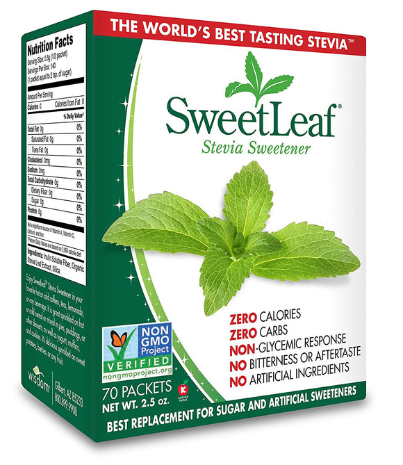 Wisdom Natural SweetLeaf Stevia Sweetener 2.5 oz (70 Packets)