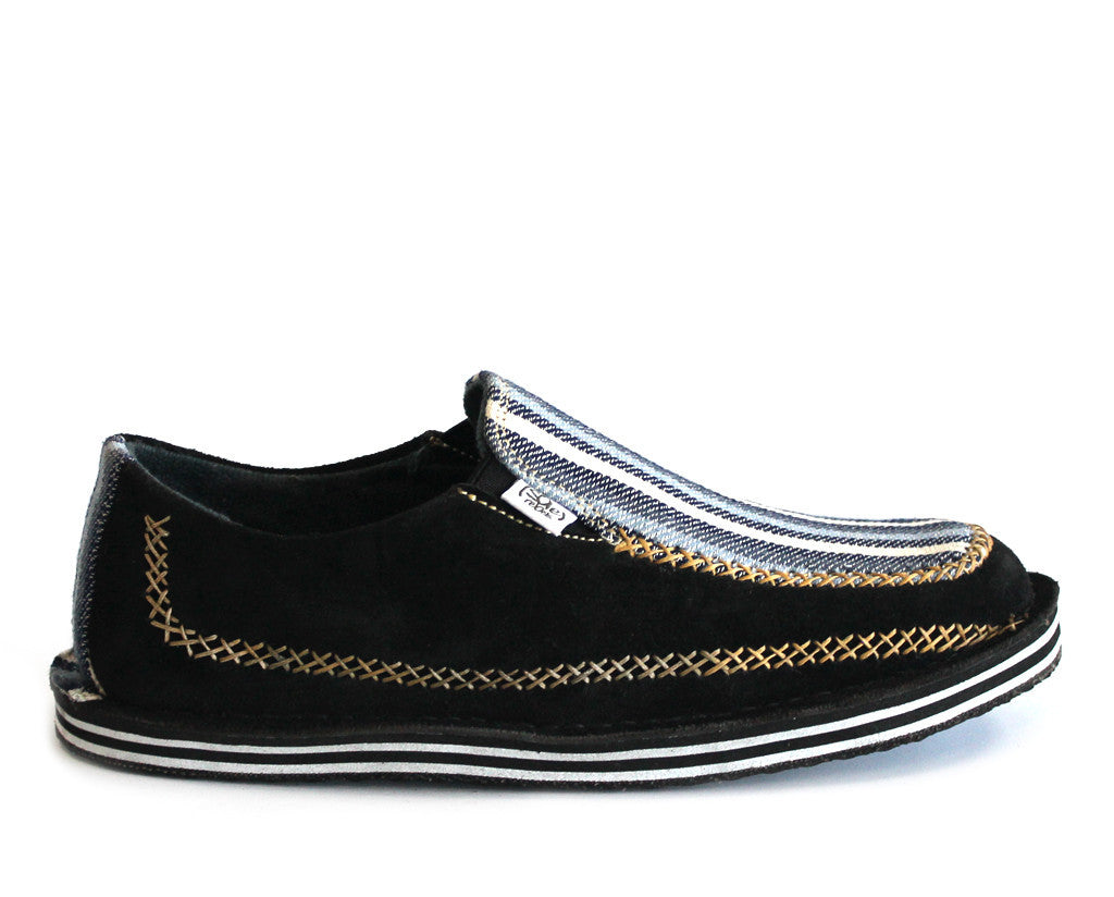 solerebels Black LUXE reimagined stitchdown Slip-Ons