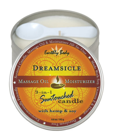 Earthly Body Suntouched Hemp Candle - 6 oz Round Tin Dreamsicle