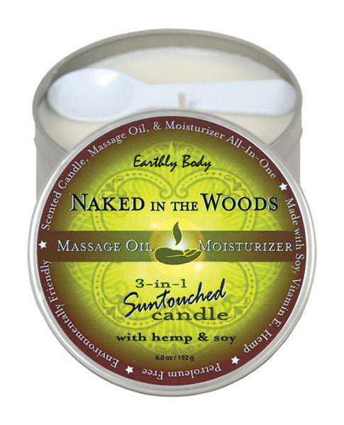 Earthly Body Suntouched Hemp Candle - 6 oz Round Tin Naked in the Woods
