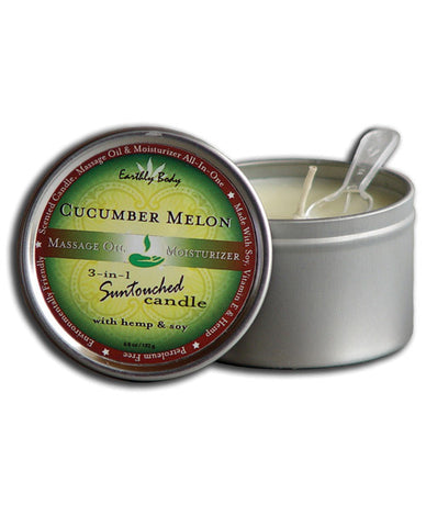 Earthly Body Suntouched Hemp Candle - 6 oz Round Tin Cucumber/Melon