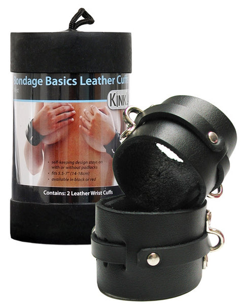 KinkLab Leather Wrist Cuffs - Black