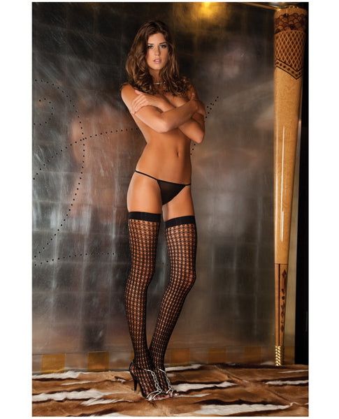 Rene Rofe Quarter Crochet Net Thigh Highs Black O/S