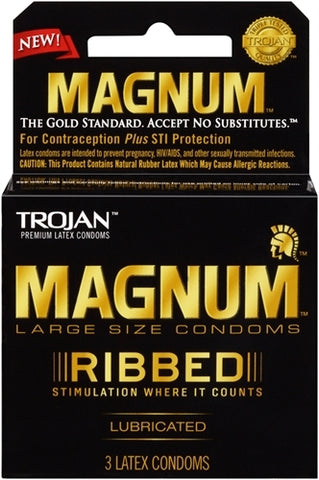 Trojan Magnum Ribbed Lubricated Condoms - 3 Pack