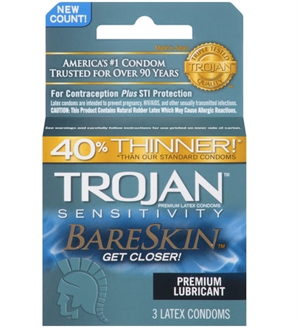 Trojan Sensitivity Bareskin Lubricated  Condoms - 3 Pack
