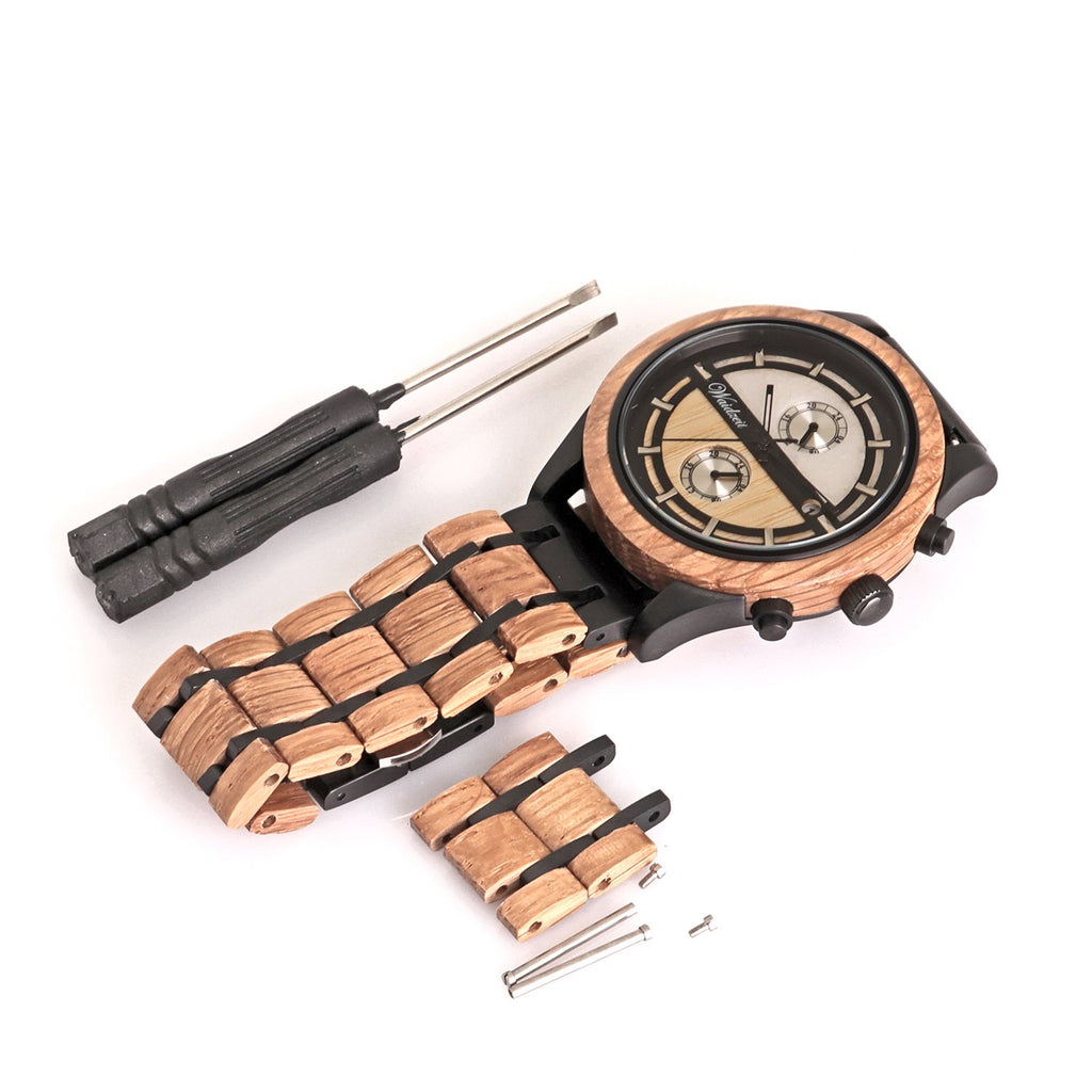 Chronograph Beer wooden strap Men