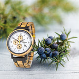 Chronograph GIN White Gold wooden strap Men