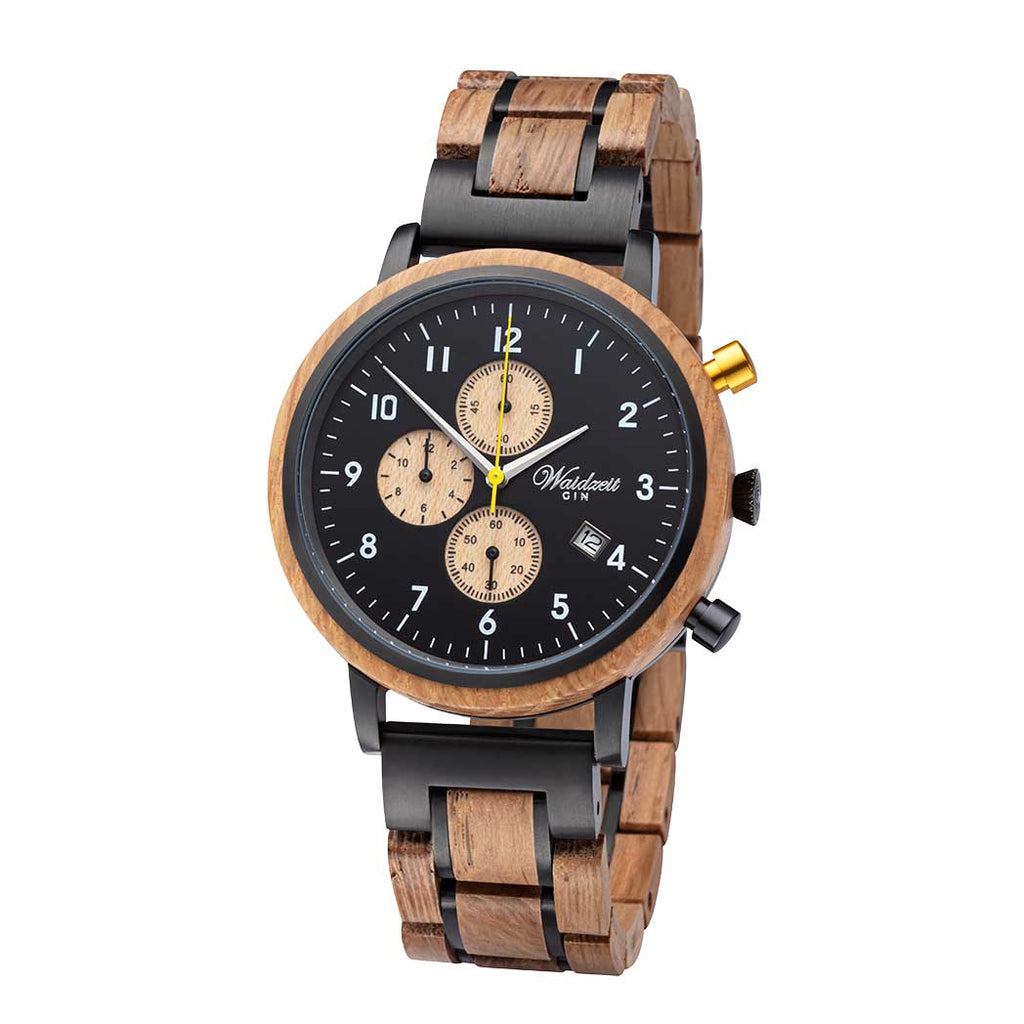 Chronograph GIN Black Gold wooden strap Men