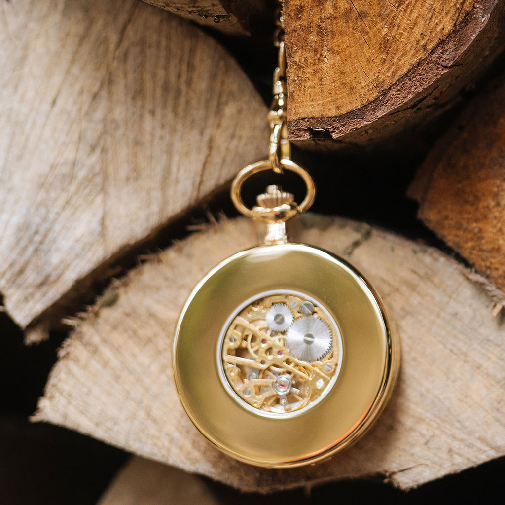 Franz Rudolf Skeleton pocket watch gold
