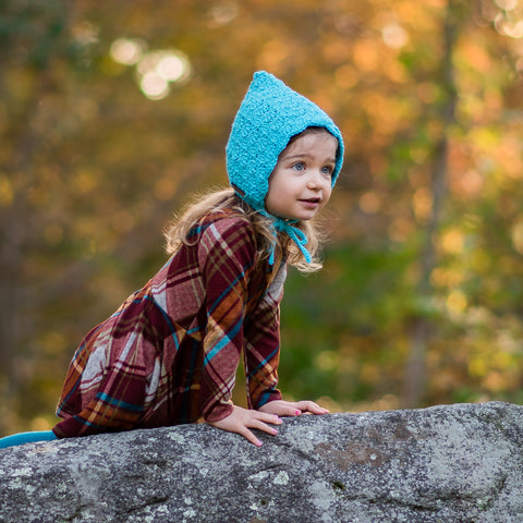 Teal crochet toddler pixie bonnet