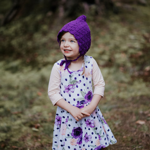Purple children's pixie bonnet crochet with cotton