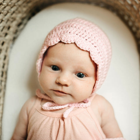 Pink handmade cotton baby bonnet for newborn girl