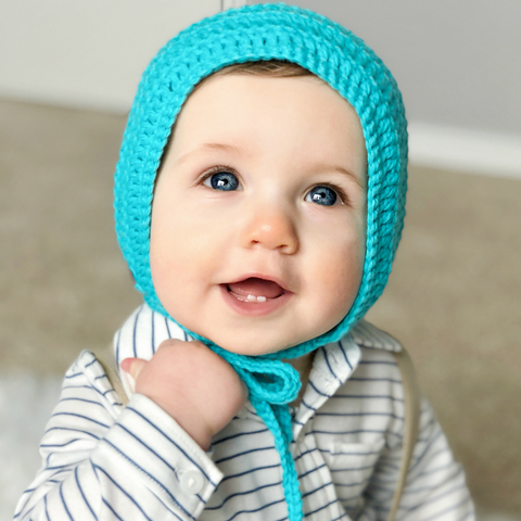 Soft cotton crochet teal baby bonnet for boy or girl