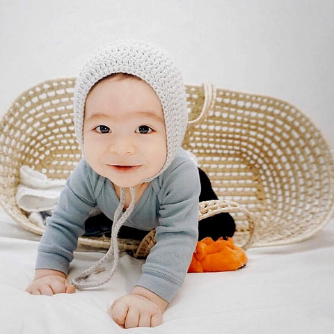 Gray baby bonnet for boy