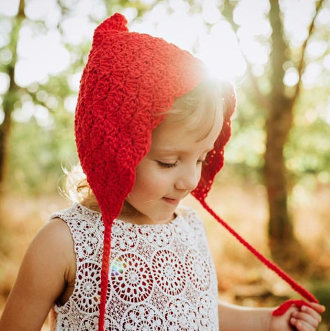 Handmade Crochet Red Toddler Bonnet for Valentine's Day