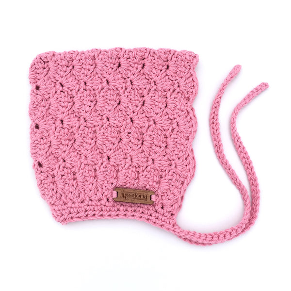 Crochet Finsley Bonnet for Baby to Toddler Girl in Pink