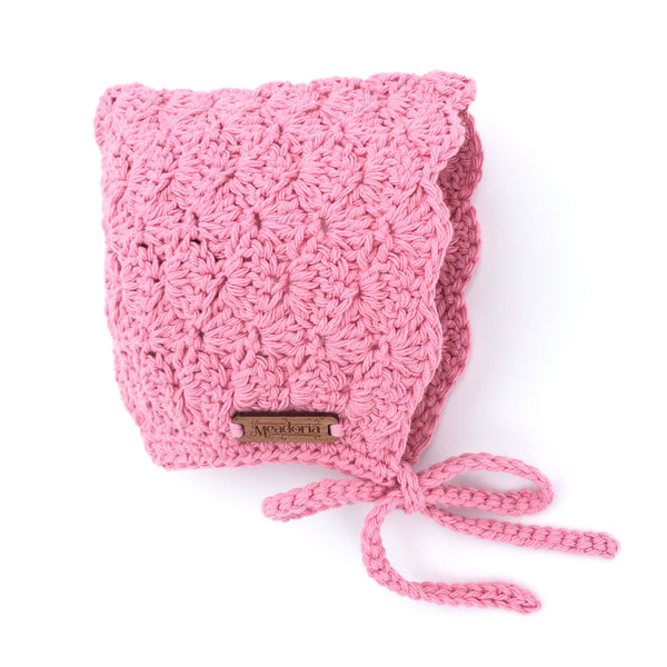 Pink Finsley Crochet Bonnet for Baby to Toddler Girl