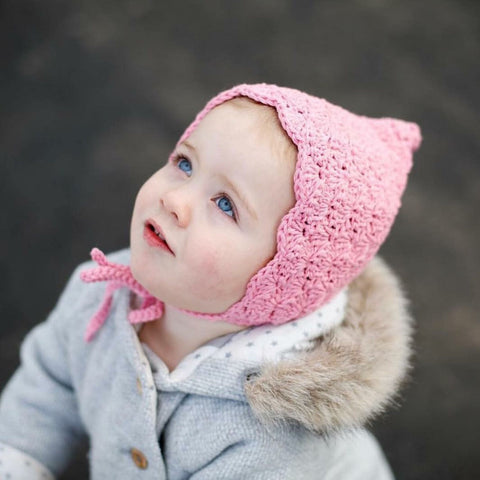 Baby to Toddler Girl Finsley Crochet Bonnet in Pink