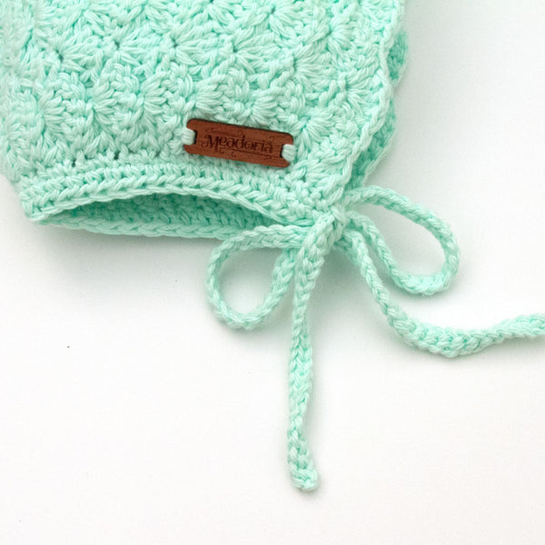 Pastel Mint Crochet Cotton Finsley Bonnet for Baby to Toddler