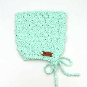 Finsley Bonnet Pastel Mint Crochet Cotton for Baby to Toddler