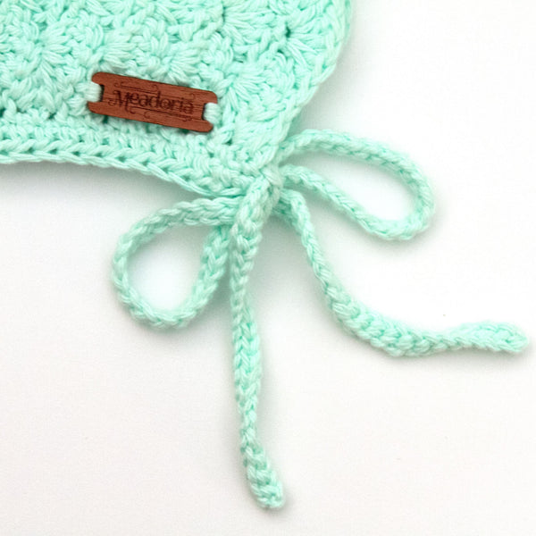 Finsley Bonnet Crochet Cotton for Baby to Toddler Pastel Mint