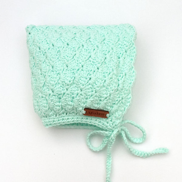 Crochet Cotton Finsley Bonnet for Baby to Toddler Pastel Mint
