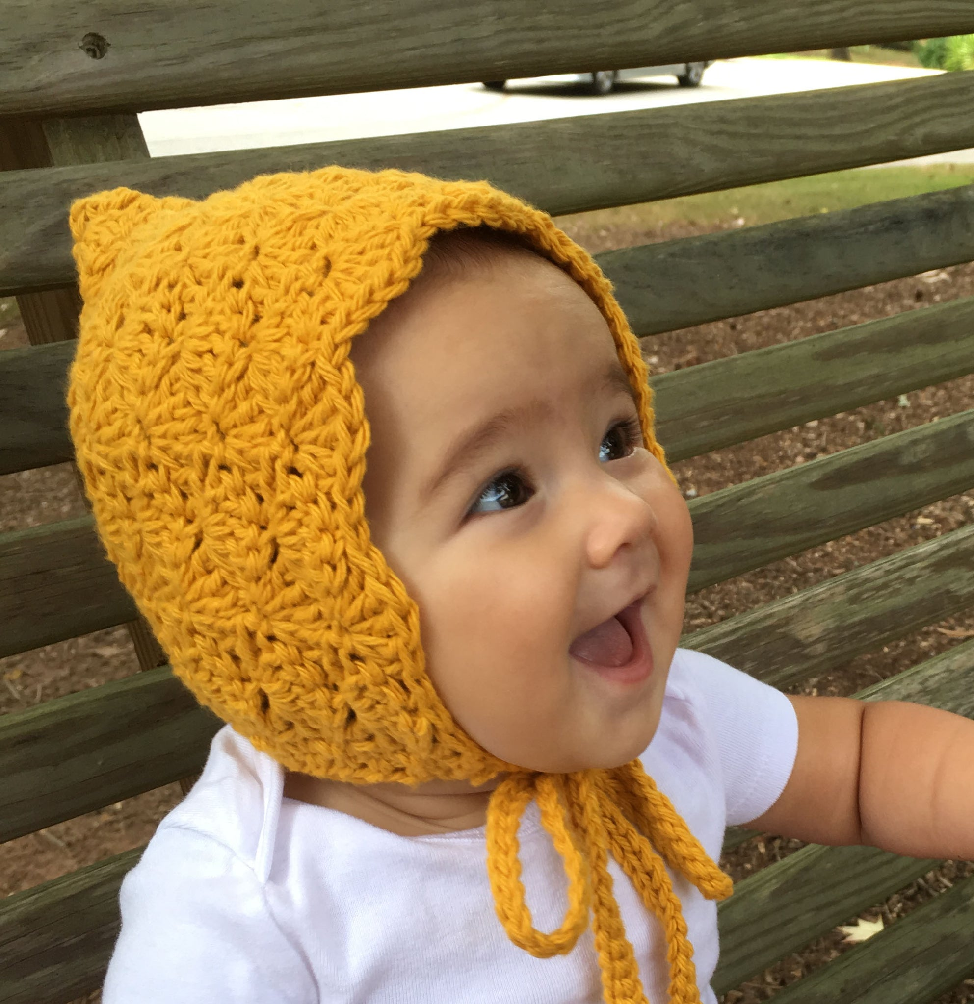 Mustard Baby Bonnet for Girls Crochet Pixie Hat by Meadoria