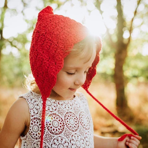 Red Baby Crochet Pixie Hat Finsley Bonnet