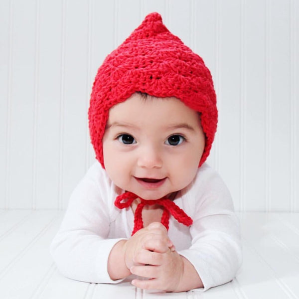 Red Crochet Pixie Hat Finsley Bonnet for Baby