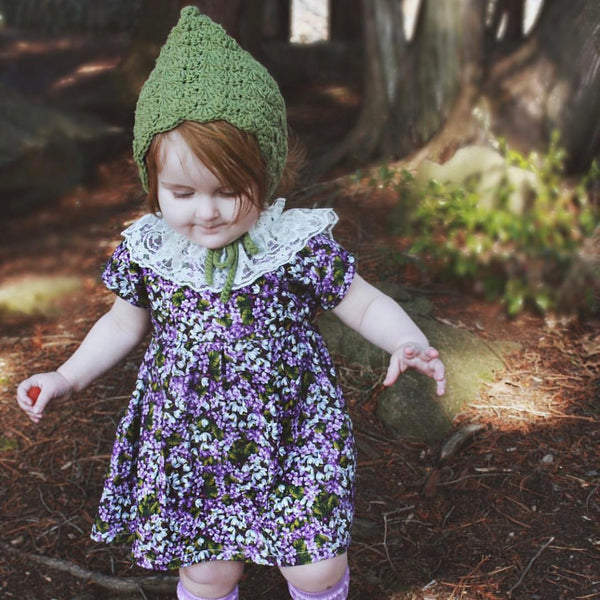 Baby Sage Green Crochet Cotton Bonnet Pixie Hat