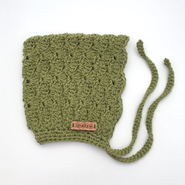 Sage Green Crochet Cotton Bonnet Pixie Hat for Baby