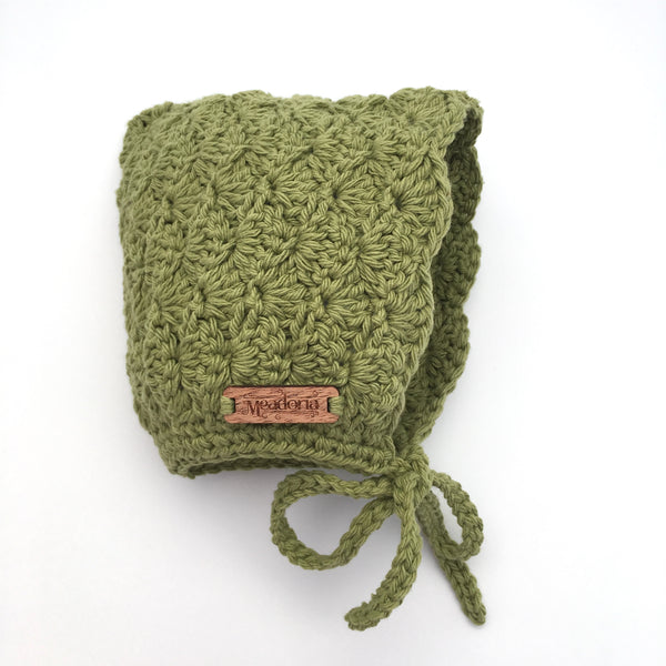Crochet Cotton Bonnet Pixie Hat for Baby in Sage Green