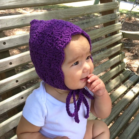 Crochet Cotton Baby Girl Finsley Bonnet in Purple