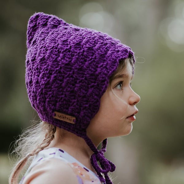 Purple Baby Girl Crochet Cotton Finsley Bonnet