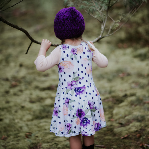 Baby Girl Finsley Bonnet Crochet Cotton in Purple