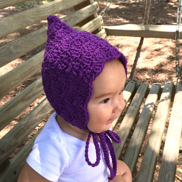 Purple Crochet Cotton Finsley Bonnet for Baby Girl
