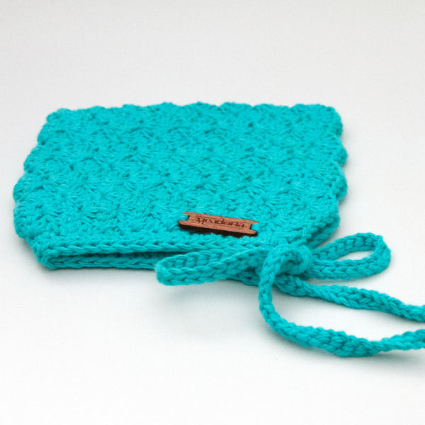 Cotton Crochet Pixie Bonnet Finsley by Meadoria in Teal Blue