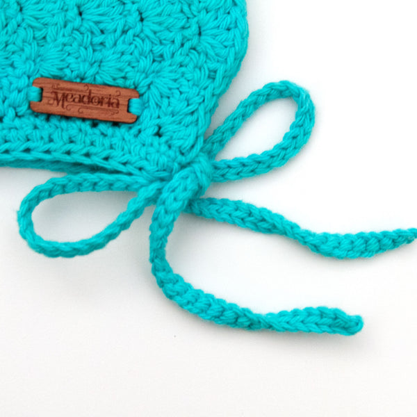 Meadoria Teal Blue Cotton Crochet Pixie Bonnet Finsley