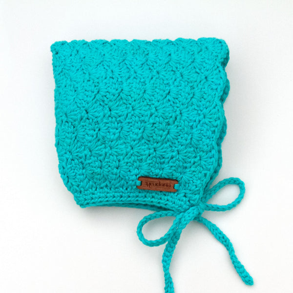 Teal Blue Cotton Crochet Pixie Finsley Bonnet by Meadoria
