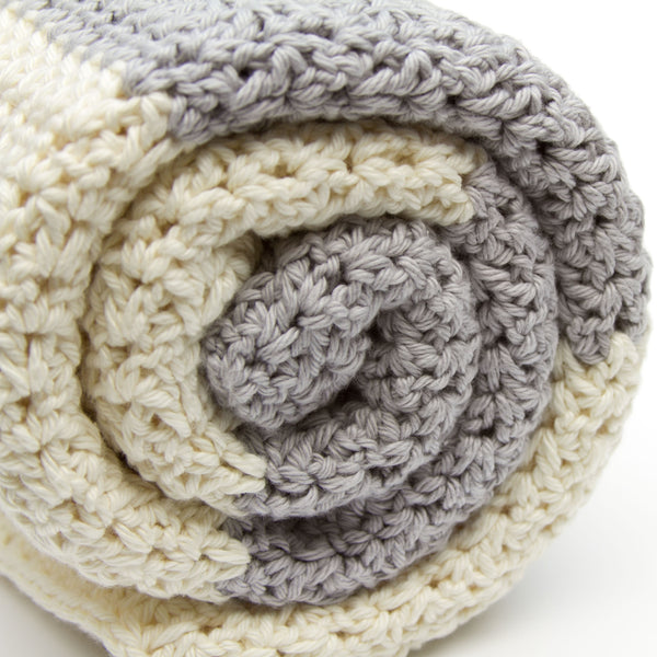 Crochet Cotton Baby Blanket Grey and Ivory Gender Neutral