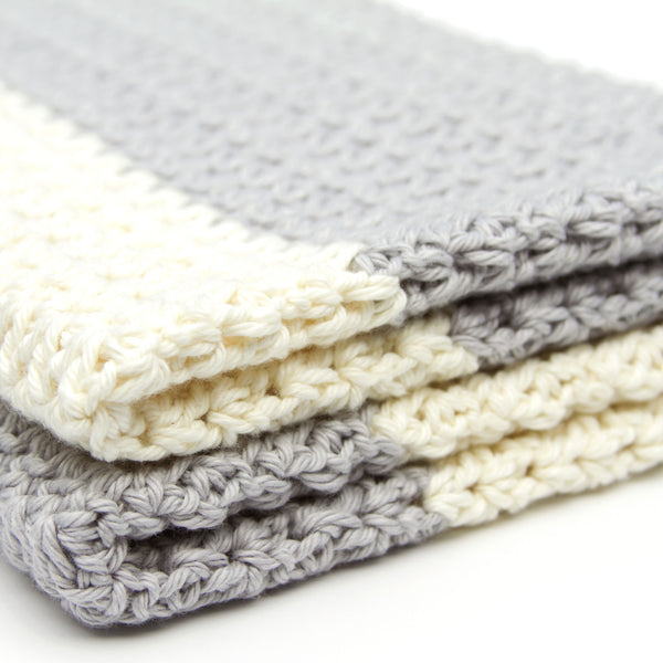Grey and Ivory Crochet Cotton Baby Blanket Gender Neutral