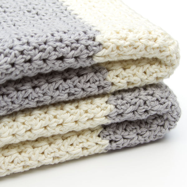 Gender Neutral Crochet Cotton Baby Blanket Grey and Ivory