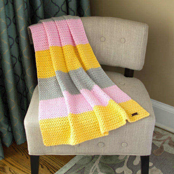 Baby Blanket Handmade Crochet Cotton for Girl  Grey Pink and Yellow