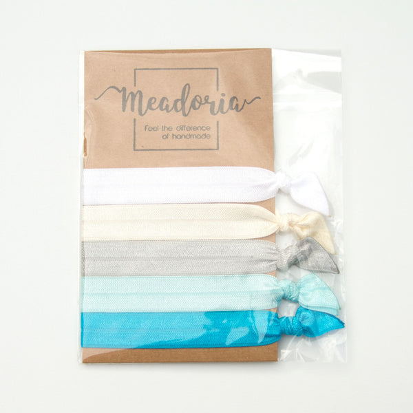 No Crease Hair Ties Knotted Elastic by Meadoria in Blue