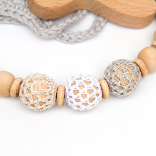 Crochet Wood Beads Pacifier Clip Ivory White and Grey Gender Neutral