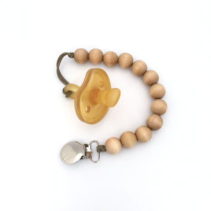 Classic Wooden Beaded Pacifier Holder Bubble Clip by Meadoria