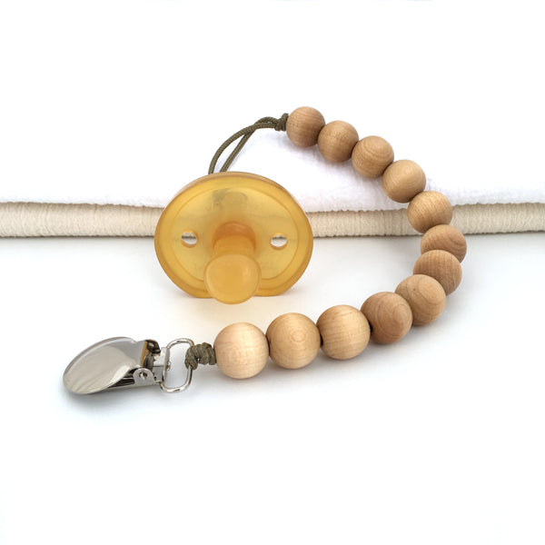 Meadoria Classic Wood Beaded Pacifier Holder Bubble Clip